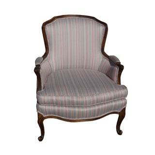 1950s French Provincial Walnut Bergere Chair For Sale