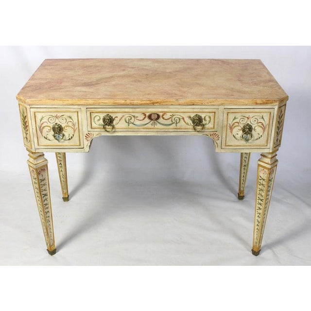 Blue Neoclassical Style Painted Dressing Table or Desk For Sale - Image 8 of 13
