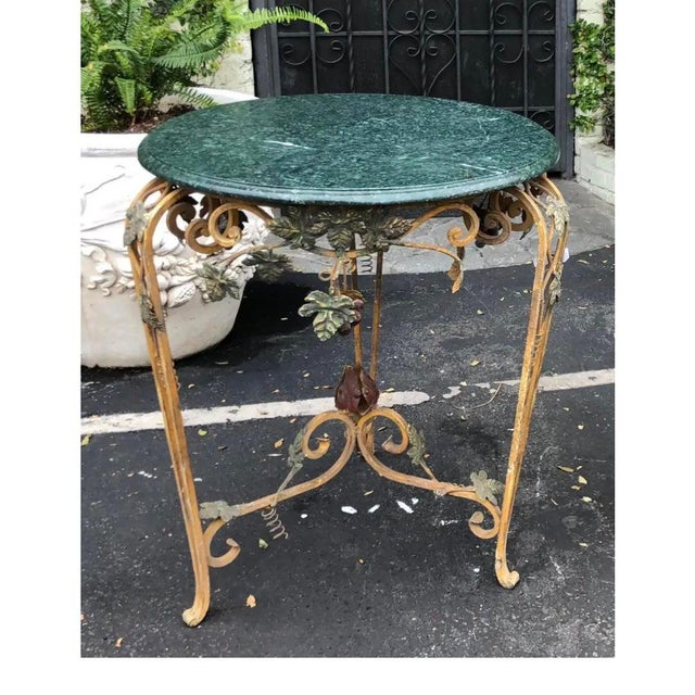 Mid 20th Century Vintage Iron Tole & Marble Top Grape Vine Garden Table For Sale - Image 5 of 5