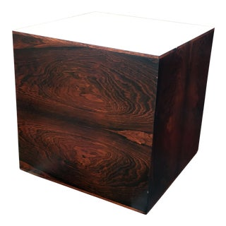 Vintage Mid Century Modern Milo Baughman Rosewood Cube Side Table For Sale