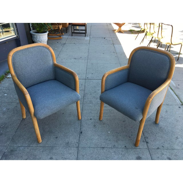1980s Vintage Sculptural Oak Frame Arm Chairs - a Pair For Sale - Image 10 of 11