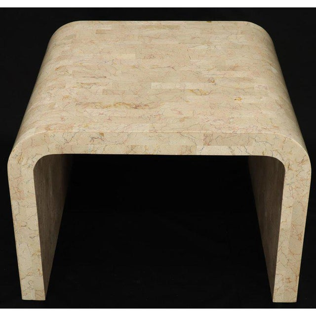 Brown Tessellated Stone Veneer C Shape Side Coffee End Table For Sale - Image 8 of 8