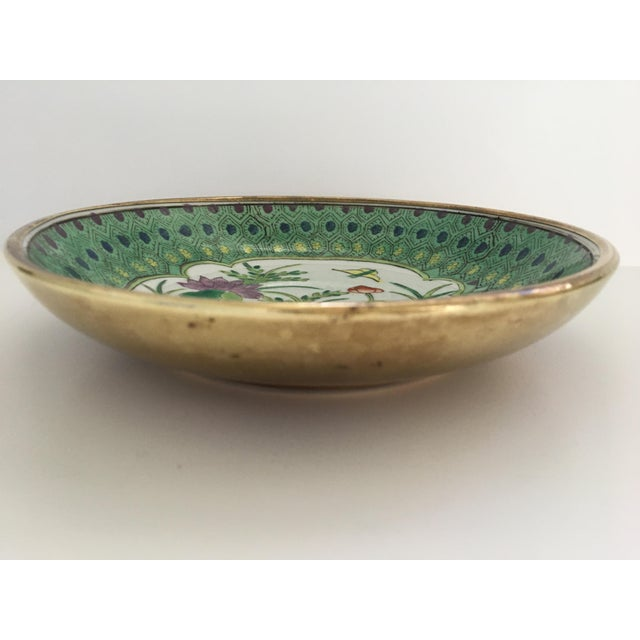 1970s Japanese Lotus Hand Painted Brass Encased Porcelain Bowl/Catchall For Sale - Image 5 of 13
