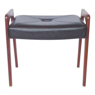 Mid-Century Modern Ponti Style Leather Ottoman For Sale