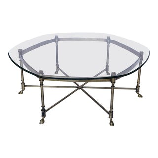 Mid-20th Century Brass and Glass Coffee Table For Sale