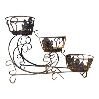 French Wrought Iron Three Tier Plant Stand C.1920 For Sale