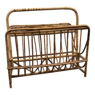 Mid 20th Century Vintage Bamboo Magazine Rack For Sale