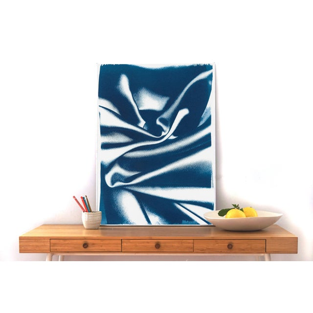 Abstract Wavy Fabric Pattern in Classic Blue, Subtle Gesture Cyanotype Print on Watercolor Paper, 50x70cm For Sale - Image 4 of 13