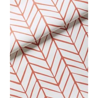 New Roll Serena & Lily Feather Coral Chevron / Herringbone Print Wallpaper For Sale