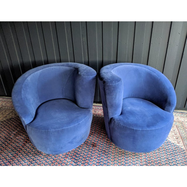 Vladimir Kagan Nautilus Swivel Chairs Reupholstered in Blue Velvet, a Pair For Sale - Image 12 of 13