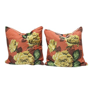 1970s French Yellow Rose Pillows - a Pair