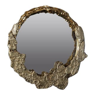 Ecorce Small Gold Mirror by Christine Rouviere For Sale