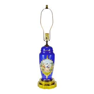 Early 20th Century Vintage Cobalt Blue Ceramic Table Lamp For Sale