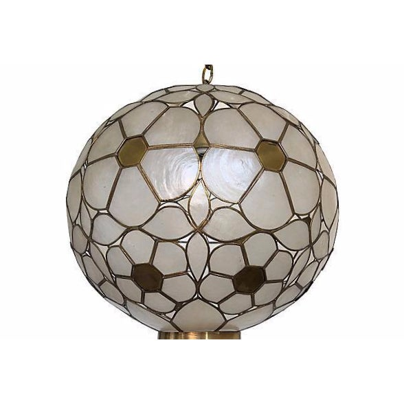 Mid Century Capiz Globe Pendant Light | Chairish