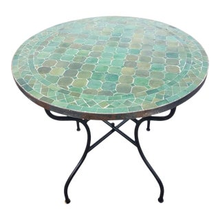 "Moroccan 32"" Tamegrout Green Mosaic Table For Sale"