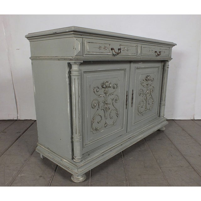 19th C. French Vintage Gray Credenza - Image 6 of 11
