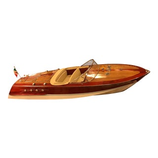 Vintage Wooden Riva Speedboat Model
