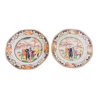 19th Century Chinese Ceramic Export Plates - a Pair For Sale