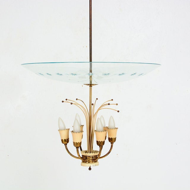 For your consideration: Delicate and Graceful Italian Chandelier from the 1950s after Fontana Arte. Styled with Six arms...