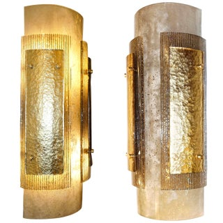 Italian Modern Gold Smoked Gray and Frosted Ivory Murano Glass Sconces - a Pair For Sale