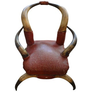 Antique Children's Distressed Leather Horn Chair For Sale