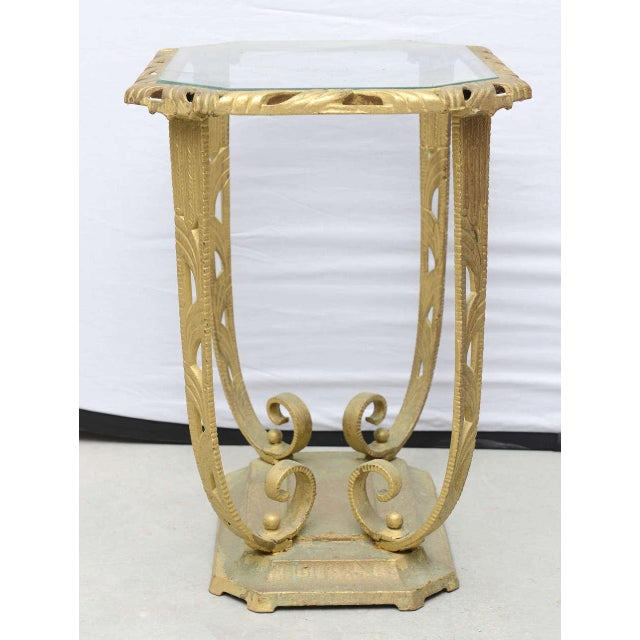 Gold and Glass Hollywood Regency Side Table, 1930 Usa For Sale - Image 4 of 9