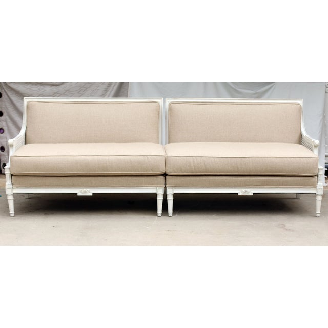 French Two-Piece Linen Sofa - Image 2 of 10