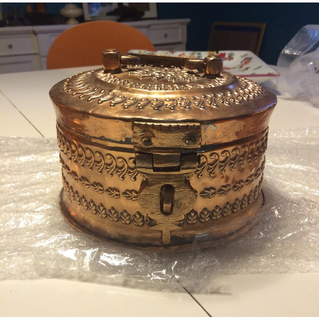 Antique Tinned Copper Repousse Box - Image 2 of 8