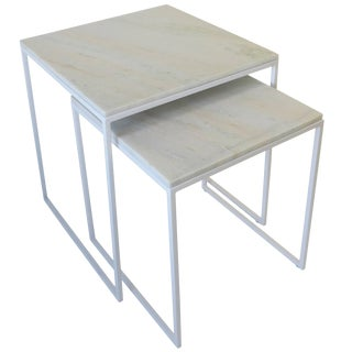 White Granite Marble Nesting End Tables, a Set For Sale
