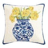 "Image of Chinoiserie Vase Daffodils Hook Pillow, 16"" x 16"" For Sale"