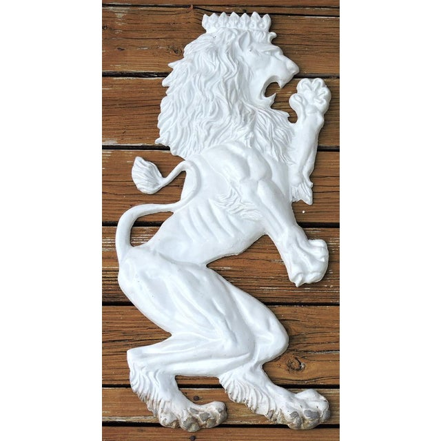 Empire 20th Century Large White Lion Aluminium Wall Hangings or Emblems - a Pair For Sale - Image 3 of 5