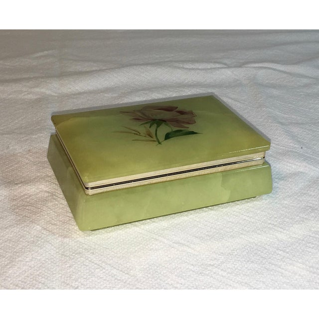 Mid-Century Hand Carved Alabaster Trinket Box - Image 2 of 4