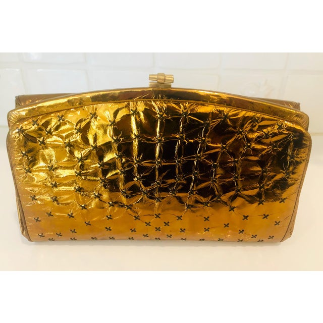 1960s Max Holzman Metallic Copper Leather Clutch For Sale - Image 11 of 11