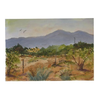 Spring in the High Plains Watercolor For Sale