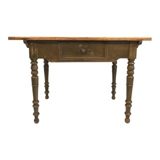 Antique French Country Farmhouse Side Table With Original Paint For Sale