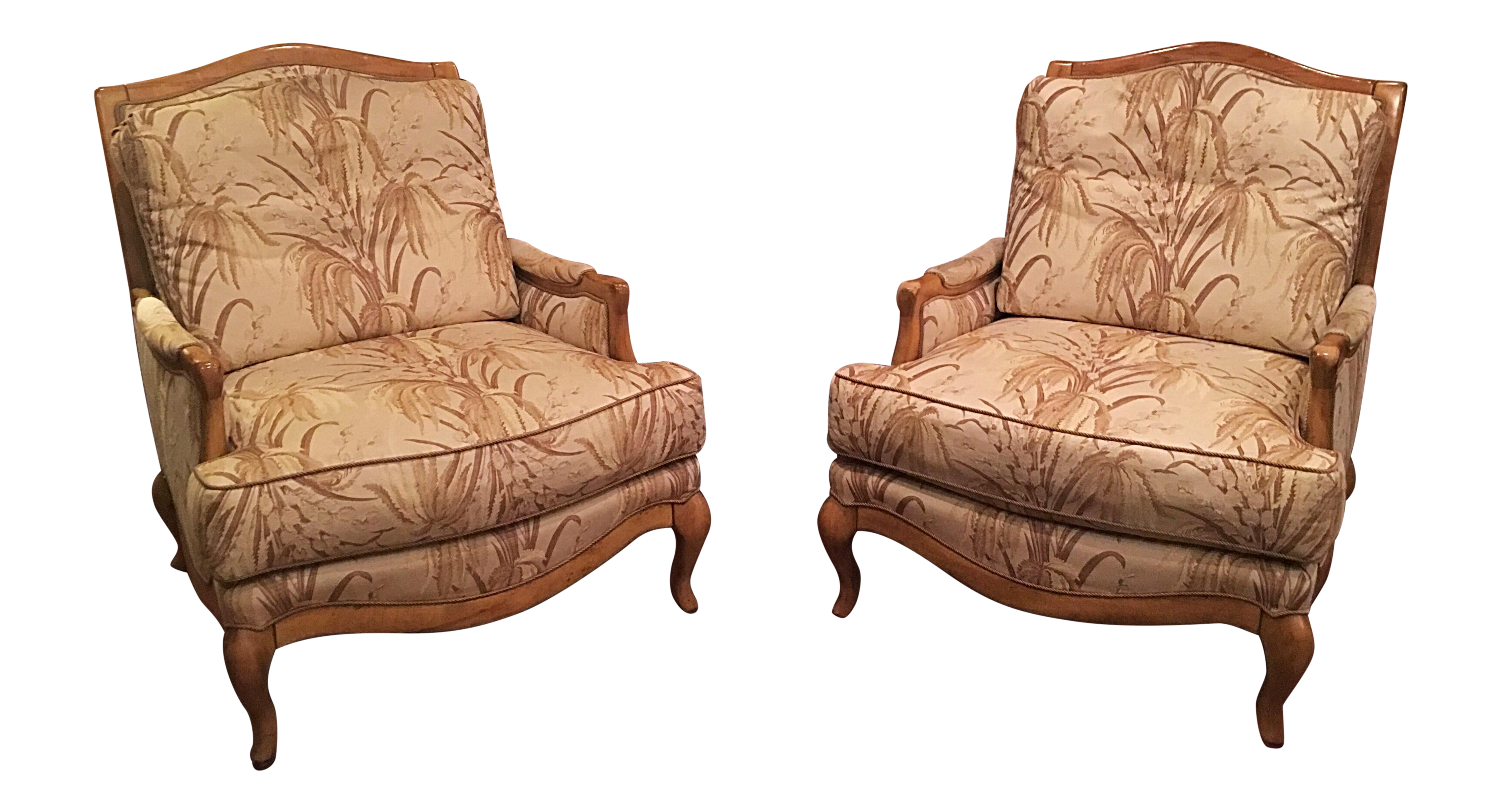 Crafted Swaim Wood Fabric Down Filled Club Chairs   A Pair