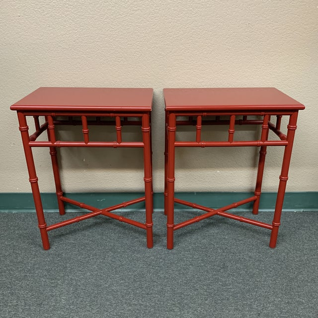 Red Mid-20th Century Red Faux Bamboo Accent Tables- a Pair For Sale - Image 8 of 8