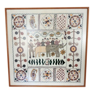 Primitive Bangladesh Embroidered Fabric Picture Panel With Elephants and Mahouts For Sale