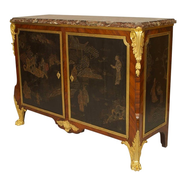 19th C. French Louis XV/XVI Style Commode Signed by Decour For Sale