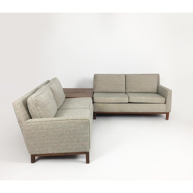 Danish modern sofa set with two loveseats and one corner case piece. Could make a great corner sofa or long reception...