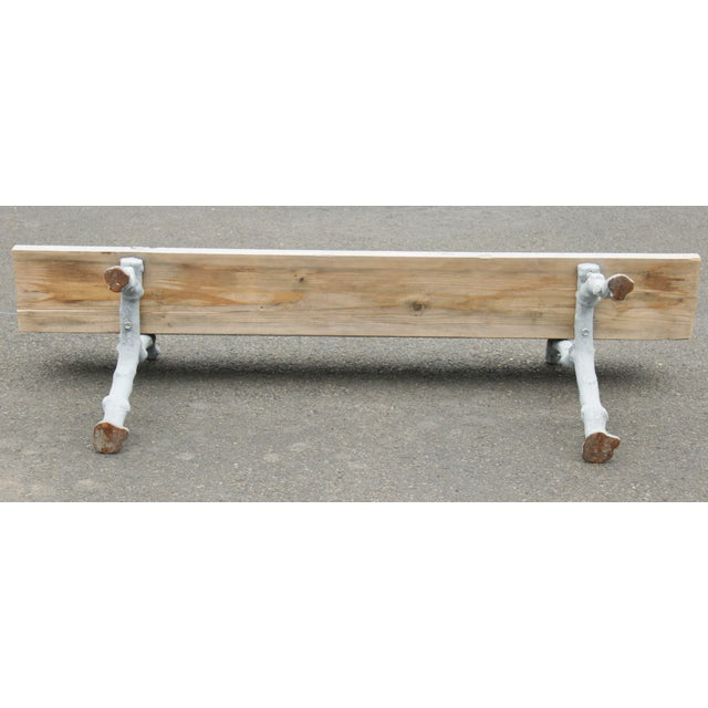 Quality Cast Iron Faux Bois Garden Park Bench For Sale - Image 12 of 13