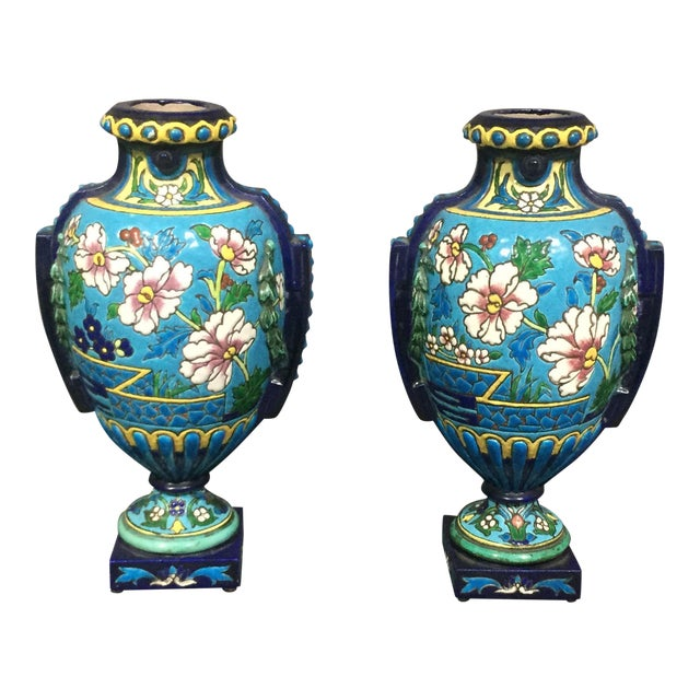 Pair of Emaux de Longwy Attributed Floral Enameled Vases, France For Sale