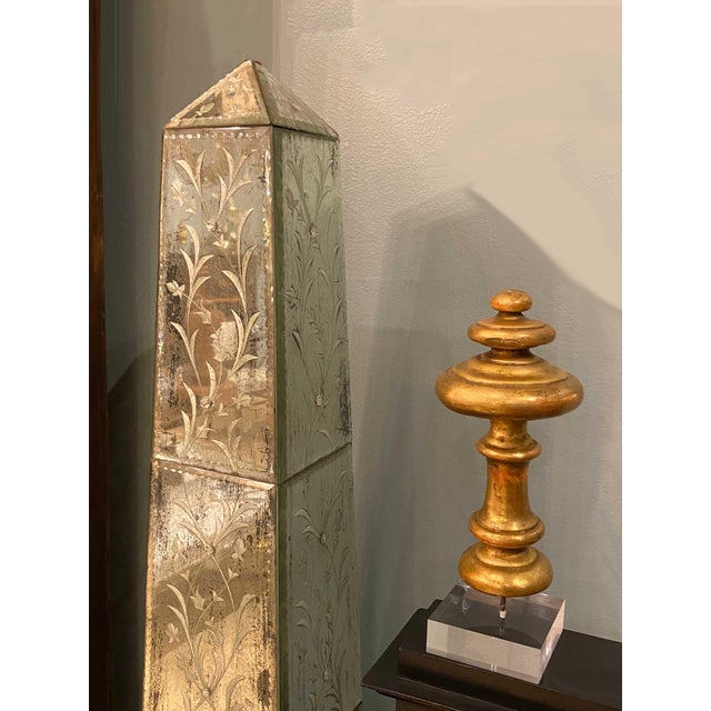 An antique French finial, architectural fragment mounted on a custom lucite base.