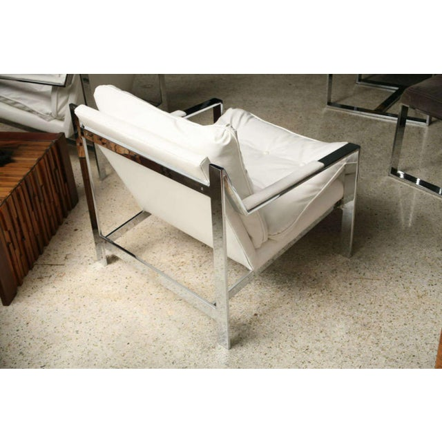 Mid-Century Modern Pair of Cy Mann Polished Chrome Cube Chairs For Sale - Image 3 of 9