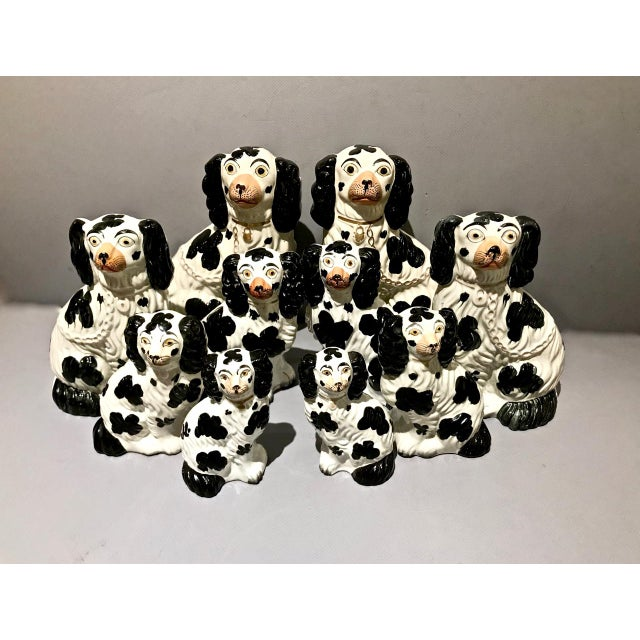 Mid 19th Century Set of 6 Pairs Graduated Staffordshire Spaniels, C. 1850 For Sale - Image 5 of 6
