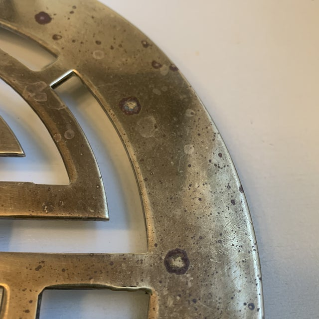 Mid 20th Century Large Chinoiserie Brass Trivet For Sale - Image 4 of 7