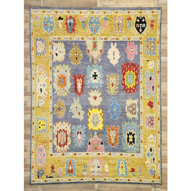 Blue Contemporary Oushak Inspired Area Rug - 9′3″ × 12′5″ For Sale - Image 8 of 9