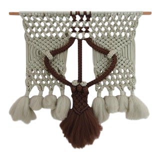 Vintage 1970's Macrame Wall Hanging For Sale