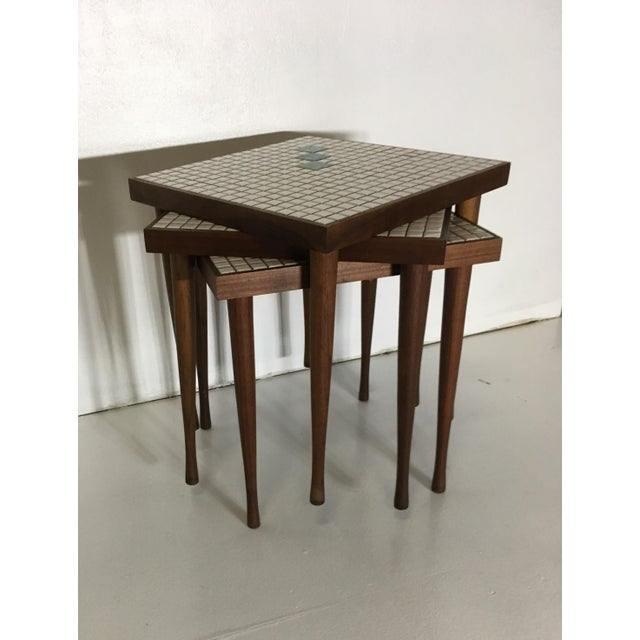 Mid-Century Tile Top Walnut Stacking Tables - Image 5 of 10