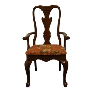 Keller Furniture Solid Cherry Traditional Queen Anne Style Arm Chair For Sale
